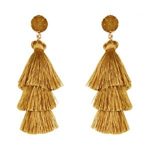 Mustard Acrylic Druzy Post Tassel Earrings